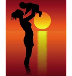 Silhouette of mother and child vector image