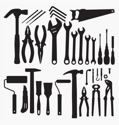 silhouettes tools collection vector image