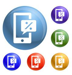 smartphone chart percent icons set vector image