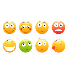 smileys set smiley face or yellow vector image