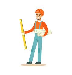 smiling architect in orange safety helmet standing vector image