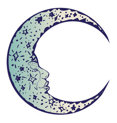 tattoo sleeping crescent moon vector image