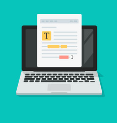 Text file or document content editing online on vector