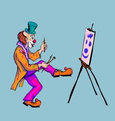The clown draws on canvas vector