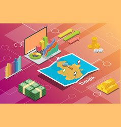 tianjin china province city isometric financial vector image