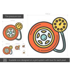Tire pressure line icon vector