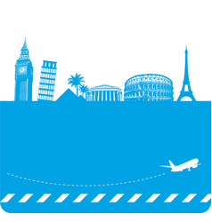 Travel background with famous landmarks vector