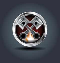 Two pistons steely rounded badge icon for uigame vector
