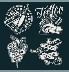 vintage monochrome tattoo salon badges vector image