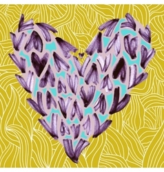 Watercolor small hearts on a yellow background vector image