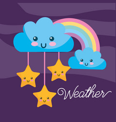 weather kawaii cartoon rainbow clouds stars vector image