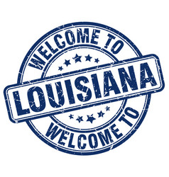 Welcome to louisiana blue round vintage stamp vector