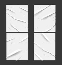 white glued wet paper wrinkled crumpled texture vector image