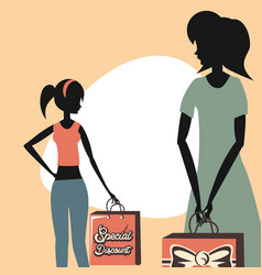 woman retro shopping vector image