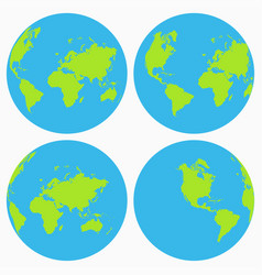 world icon set earth globe collection planet vector image