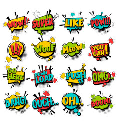 big set comic text speech bubble phrase vector image