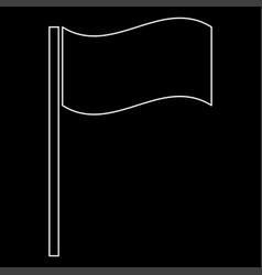 Flag white color path icon vector