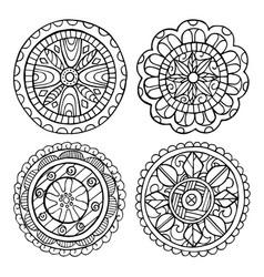 hand-drawn mandala set of isolated elements vector image vector image