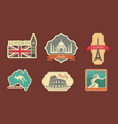 labels of travel vector image vector image