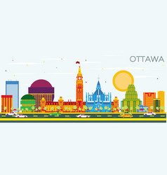 ottawa skyline with color buildings and blue sky vector image