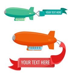 Set of blimps with advertising banners vector