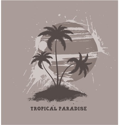 vintage summer background with palm trees vector image