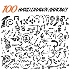 100 hand drawn arrow set made in vector image