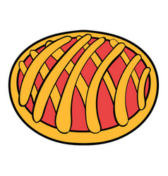 cherry pie icon cartoon vector image