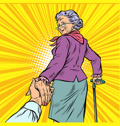 follow me mature woman granny leads hand vector image vector image