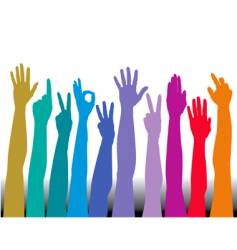 hands of all races rainbow vector image