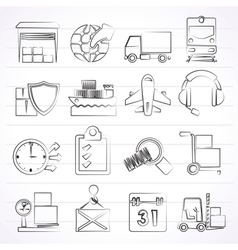 Logistic cargo and transportation icons vector image vector image