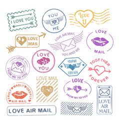 romantic letter mail stamp set vector image