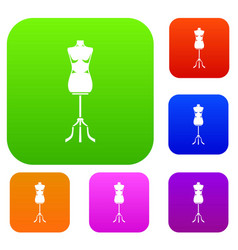 sewing mannequin set collection vector image