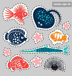 sticker marine set vector image