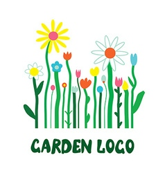 Garden logo with flowers - unusual simple design vector image