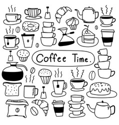 line hand drawn doodle set of coffee vector image vector image