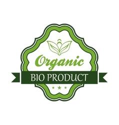 Organic bio product emblem or label vector image