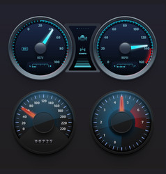 realistic car dashboard speedometers with dial vector image