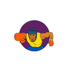 amateur boxer punching circle drawing vector image