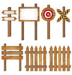 fence wooden signboards arrow sign target dart vector image vector image