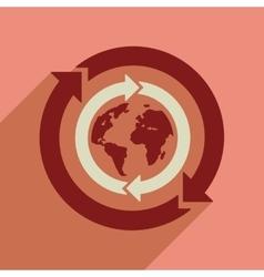 Flat web icon with long shadow earth arrows vector