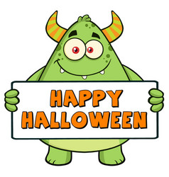 horned green holding happy halloween sign vector image vector image