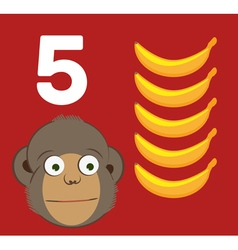 Number 5 - Monkey with five bananas vector image vector image
