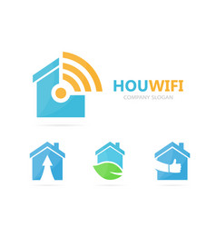 Real estate and wifi logo combination vector