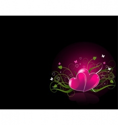 romantic black background with hearts vector image vector image