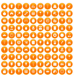 100 confectionery icons set orange vector