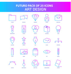 25 blue and pink futuro art and design icon pack vector image