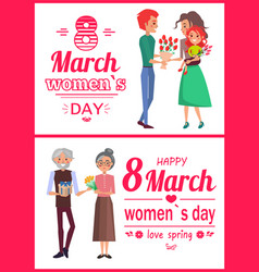 8 march womens day posters set vector image vector image