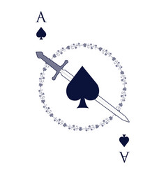 Ace of spades crossed with a sword surrounded vector