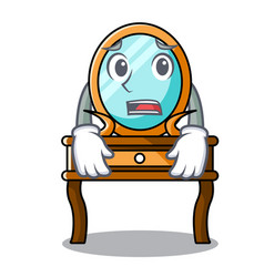 Afraid dressing table mascot cartoon vector